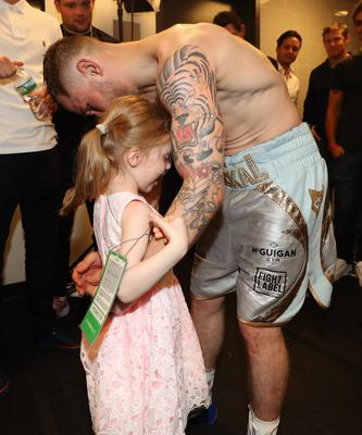 Carl Frampton pictured with his daughter Carla after defeating Leo Santa Cruz in Saturday nights WBA featherweight title contest against Leo Santa Cruz at the Barclays Centre, Brooklyn, NY.  Press Eye - Belfast -  Northern Ireland - 30th July 2016 - Photo by William Cherry