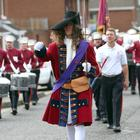 King Billy leads the Shankill Protestant Boys Flute Band as they parade around the streets in the Shankill area of Belfast today. Credit: Stephen Davison/Pacemaker