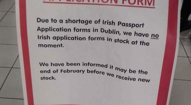 Some post offices are experiencing a shortage of Irish passport application forms. Credit: Niall O Donnghaile.