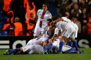 LONDON, ENGLAND - SEPTEMBER 18:  Marco Streller of FC Basel celebrates scoring their second goal with team mates during the UEFA Champions League Group E Match between Chelsea and FC Basel at Stamford Bridge on September 18, 2013 in London, England.  (Photo by Clive Rose/Getty Images)