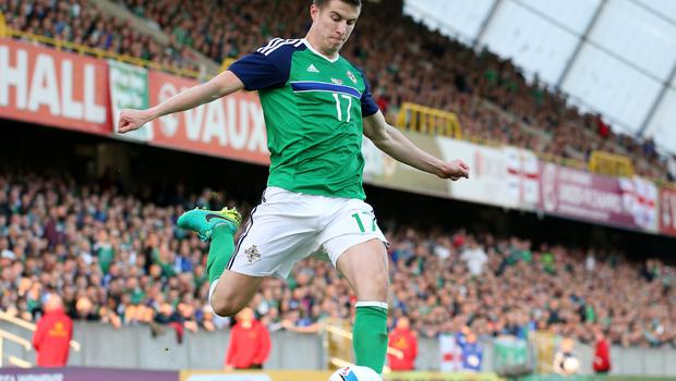 Pacemaker Belfast 27-5-16 Northern Ireland v Belarus - International Friendly Northern Ireland's Paddy McNair during tonight's game at Windsor Park, Belfast.  Photo by David Maginnis/Pacemaker Press