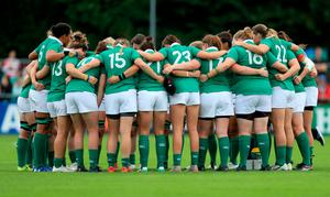 Ireland team huddle during the 2017 Women's Rugby World Cup, Pool C match at the UCD Bowl, Dublin. Donall Farmer/PA Wire.