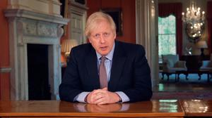 Prime Minister Boris Johnson addressing the nation about coronavirus (COVID-19) from 10 Downing Street in London. PA Photo