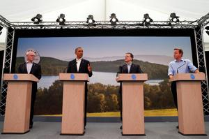 ENNISKILLEN, UNITED KINGDOM - JUNE 17:  U.S. President Barack Obama (2nd L) attends a news conference with (L-R) European Council President Herman Van Rompuy, European Commission President Jose Manuel Barroso and Britain's Prime Minister David Cameron at the G8 summit on June 17, 2013 in Enniskillen, Northern Ireland. Leaders from the G8 nations have gathered to discuss numerous topics with the situation in Syria expected to dominate the talks. (Photo by Andrew Winning - WPA Pool/Getty Images)