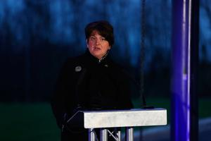 First Minister Arlene Foster during a media briefing at the Hill of The O'Neill, Ranfurly House Arts and Visitor Centre in Dungannon.  Liam McBurney/PA Wire