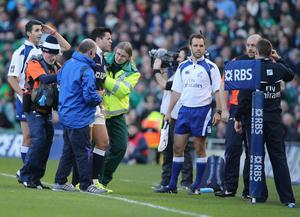 DUBLIN, IRELAND - FEBRUARY 02:  Sean Maitland of scotland is injured during RBS Six Nations match between Ireland and Scotland at the Aviva Stadium on February 2, 2014 in Dublin, Ireland.  (Photo by Ian Walton/Getty Images)