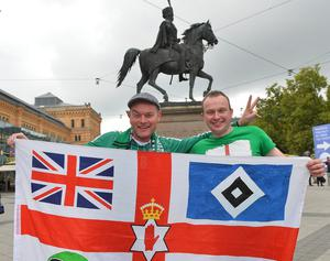 Northern Ireland Fans From L-R Phillip Hughes and Steven Cairns arrive  in Hannover, ahead of Northern Ireland's World Cup Qualifier against Germany on Tuesday evening. Photo Colm Lenaghan/Pacemaker Press