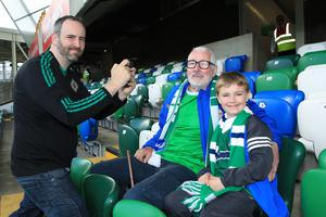 PressEye-Northern Ireland- 2nd June 2017-Picture by Brian Little/PressEye  Simon,Frank and Benjamin Lee (7~) from Carryduff   supporting Northern Ireland against  New Zealand  during Friday night's Vauxhall  International at  the National Football Stadium, Windsor Park ,Belfast. Picture by Brian Little/PressEye