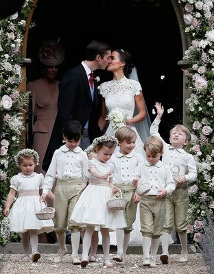 Prince George (second right) leaves with other page boys and flower girls following the wedding of Pippa Middleton and her husband James Matthews at St Mark's church in Englefield, Berkshire. PRESS ASSOCIATION Photo. Picture date: Saturday May 20, 2017. See PA story ROYAL Pippa. Photo credit should read: Kirsty Wigglesworth/PA Wire