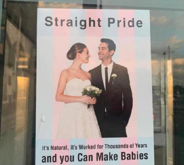 One of the Straight Pride posters erected in Waterford