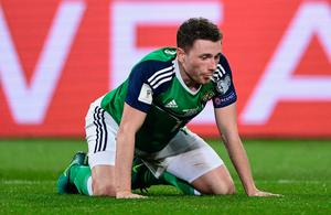 HANOVER, GERMANY - OCTOBER 11: Corry Evans of Northern Ireland looks on during the FIFA 2018 World Cup Qualifier between Germany and Northern Ireland at HDI-Arena on October 11, 2016 in Hanover, Lower Saxony.  (Photo by Stuart Franklin/Bongarts/Getty Images)
