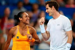 Winning duo: Heather Watson and Andy Murray saw off France