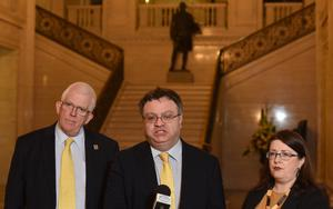 Alliance deputy leader Stephen  Farry speaks to the Media with party members Kellie Armstrong and Stewart Dickson  at Stormont on Monday  , following the recent election results at the weekend. Photo Colm Lenaghan/Pacemaker Press