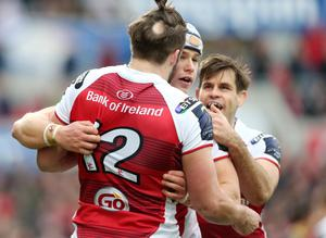 10 December 2016 - Picture by Darren Kidd / Press Eye.    Champions Cup, Ulster v Clermont at the KIngspan Stadium, Belfast.    Ulster's Luke Marshall celebrates with Stuart McCloskey  and Louis Ludik