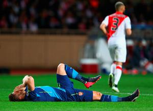 MONACO - MARCH 17:  Olivier Giroud of Arsenal reacts during the UEFA Champions League round of 16 second leg match between AS Monaco and Arsenal at Stade Louis II on March 17, 2015 in Monaco, Monaco.  (Photo by Michael Steele/Getty Images)