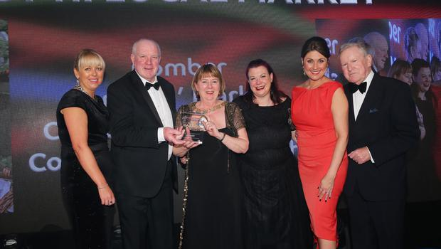 Press Eye - Belfast - Northern Ireland - 2nd February 2017 -    NI Year of Food & Drink Awards at the Culloden Hotel.  Award 8 Best NI Local Market Sarah Travers, host of the NI Year of Food & Drink Awards is pictured with Jackie Reid from the Belfast Telegraph presenting the Comber Regeneration Community Partnership with the award for Best NI Local Market for Comber FarmersÕ Market. The inaugural awards celebrated the collaborative efforts of all from the food, drink and hospitality industry during the NI Year of Food & Drink 2016, with an gala awards evening at the Culloden Hotel. Pictured left to right: Jackie Reid from the Belfast Telegraph, Roy Murray,  Alderman Deborah Girvan, Mayor Ards and North Down Borough, Kirsty Atkinson, Sarah Travers and Mike Moore.  Photo by Kelvin Boyes / Press Eye.