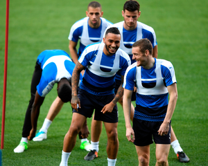 In the big time: Jamie Vardy leads Leicester's training at the Vicente Calderon Stadium in Madrid yesterday. Photo: Michael Regan/Getty Images