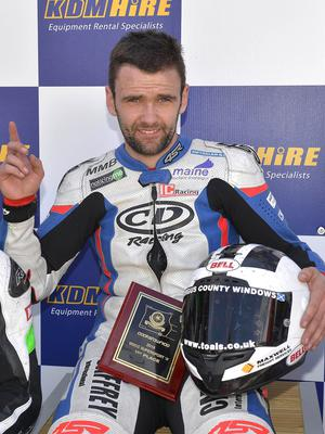 Mandatory Credit: Rowland White PressEye Road Racing: Cooktown 100 Venue: Orritor Date: 30th April 2016 Race: Supersport 2 Caption: William Dunlop celebrates