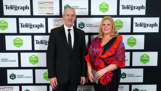 Press Eye - Belfast - Northern Ireland - 2nd February 2017 -    NI Year of Food & Drink Awards at the Culloden Hotel.  Colin Prentice and Sharon Machala  pictured at the NI Year of Food & Drink Awards at the Culloden Hotel.  Photo by Kelvin Boyes / Press Eye.
