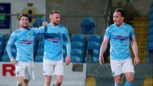 Net gains: Ballymena ace Ryan Mayse is congratulated after finding the target