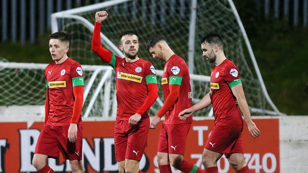 Cliftonville's Conor McMenamin celebrates after scoring. Credit: INPHO/Jonathan Porter