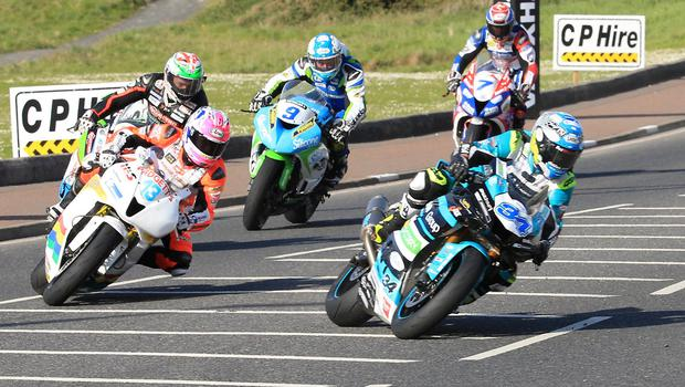 Pacemaker Belfast 12-5-18 Vauxhall International North West 200 -  supersport race 1  Alastair Seeley (EHA Yamaha) leads into York Corner during the 3rd lap of today's  supersport race 1  at the Vauxhall International North West 200 in Portrush.  Photo by David Maginnis/Pacemaker Press