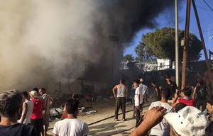 The fire at the Moria refugee camp (InTime News/AP)