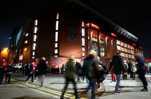 Fans outside of Anfield before the EFL Cup, round of 16 match at Anfield, Liverpool. PA