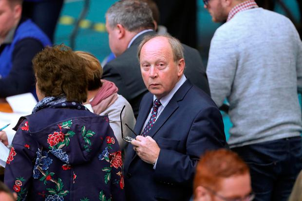 Traditional Unionist Voice (TUV) leader Jim Allister during the counting of ballot papers at the Seven Towers Leisure Centre, Ballymena, in Northern Ireland's Assembly election.