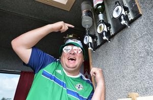 Northern Ireland Fans Ian Thompson  from Ballymena travel through St Georges de Reneines  in a camper van, on the way to Nice as N Ireland face Poland in their opening match on Sunday. Pic Colm Lenaghan/Pacemaker
