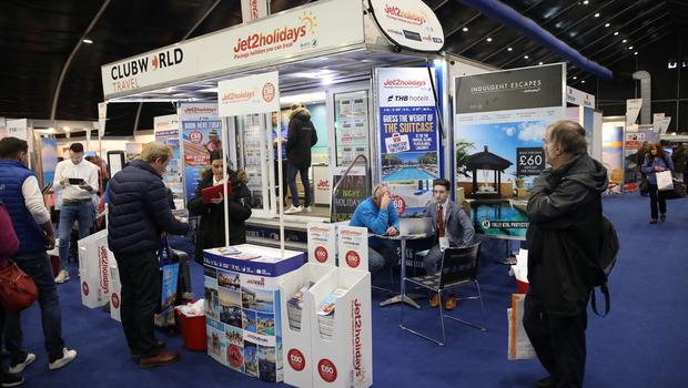 Large crowds attend the TEC centre for the Belfast Telegraph Holiday World Show.  Photo by Peter Morrison