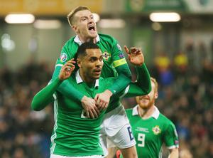 Press Eye Belfast - Northern Ireland 24th March 2019  European Championship 2020 Qualifying Round at the National Stadium at Windsor Park, Belfast.  Northern Ireland Vs Belarus.  Northern Ireland's Josh Magennis is congratulated by captain Steven Davis after he scores to make it 2-1.   Picture by Jonathan Porter/PressEye.com