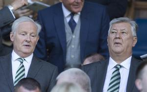 Celtic chairman Ian Bankier, left, has thanked Lawwell for devoting his life to serving the club (Jeff Holmes/PA)