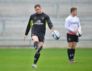 PACEMAKER PRESS 21/10/2016  Ulster's Tommy Bowe  during the Captains run ahead of Ulster's European Rugby Champions Cup game against Exeter Chiefs at the Kingspan Stadium in Belfast on Saturday evening. Pic Colm Lenaghan/Pacemaker