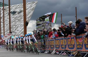 09th May 2014  Photo by William Cherry/Presseye  Orica GreenEdge team pictured at the start of the 97th Giro dÕItalia at Titanic Belfast which begun this evening with a 21.7 km team time trial around the city streets.