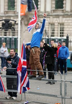 Loyalist protester at Belfast City Hall after the St Patrick's Day Carnival parade in Belfast city centre. Picture by Press Eye