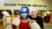 Carl Frampton before heading off to the Commonwealth Youth Games with his coach Billy McKee, at Midland White - City ABC. 19/11/04