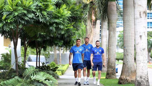 Press Eye - Belfast -  Northern Ireland - 26th May 2018 - Photo by William Cherry/Presseye  Northern Ireland's Josh Magennis, Gareth McAuley and Stuart Dallas pictured in Panama City on the first day of their summer tour to Panama and Costa Rica.