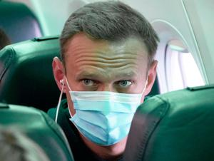 Defiant: Alexei Navalny aboard the flight back to Russia
