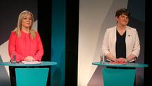 Sinn Fein's Michelle O'Neill and DUP Leader Arlene Foster at UTV Studios at Havelock House in Belfast for the Northern Ireland Assembly Debate. PRESS ASSOCIATION Photo. Picture date: Thursday February 16, 2017.  Pis: Niall Carson/PA Wire