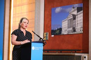 Deputy First Minister Michelle O'Neill during the daily media broadcast in the Long Gallery at Parliament Buildings, Stormont on Monday. Photo by Kelvin Boyes / Press Eye.