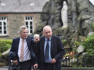 PACEMAKER BELFAST  05/08/20 Dr Joe Hendron, a former SDLP politician and Alban Maginness during the Funeral  for John Hume at St EugeneÕs Cathedral in Derry on Wednesday. John Hume will be remembered as one of the highest-profile and most influential politicians in Northern Ireland. He was a founding member of the SDLP and went on to lead the party from 1979 until 2001. Mr Hume played a significant role in driving forward the peace process and following the 1998 Good Friday agreement, he was awarded the Nobel Peace Prize. Mr Hume also served as a member of the European Parliament (MEP) for more than 25 years and held a seat in Westminster as an MP for nearly 22 years. Photo Colm Lenaghan/Pacemaker Press