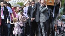 Funeral of west Belfast murder victim Jennifer Dornan as it leaves her Mothers home at Wolflink Link, Belfast. Pictured back right carrying her coffin is her father Stephen Dornan. Picture by  Stephen Hamilton / Press Eye.com