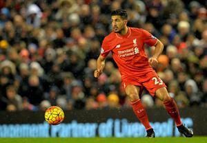Liverpool's German midfielder Emre Can looks for a pass during the English Premier League football match between Liverpool and Arsenal at Anfield stadium in Liverpool, north-west England on January 13, 2016. AFP PHOTO / PAUL ELLIS RESTRICTED TO EDITORIAL USE. NO USE WITH UNAUTHORIZED AUDIO, VIDEO, DATA, FIXTURE LISTS, CLUB/LEAGUE LOGOS OR 'LIVE' SERVICES. ONLINE IN-MATCH USE LIMITED TO 75 IMAGES, NO VIDEO EMULATION. NO USE IN BETTING, GAMES OR SINGLE CLUB/LEAGUE/PLAYER PUBLICATIONS.PAUL ELLIS/AFP/Getty Images