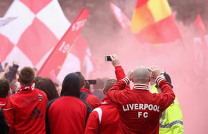 LIVERPOOL, ENGLAND - APRIL 13:  Fans take pictures prior to the Barclays Premier League match between Liverpool and Manchester City at Anfield on April 13, 2014 in Liverpool, England.  (Photo by Alex Livesey/Getty Images)