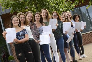 Pacemaker Press Belfast 24-08-2017: GCSE results for pupils in Northern Ireland have improved again, with one in 10 entries being awarded an A*. Pupils from Grosvenor Grammar School in Belfast, Northern Ireland pictured after  receiving their GCSE results. Picture By: Pacemaker.
