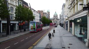 Belfast city centre pictured as the majority of businesses remain closed
