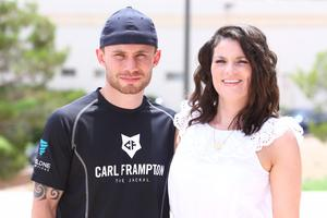 Press Eye - Belfast -  Northern Ireland - 1t6h July 2015 - Boxer Carl Frampton and his wife, Chistine, pose for a photo El Paso, Texas at the Don Haskins Center Picture by Jorge Salgado / Press Eye