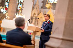 John Hume Junior speaks at the funeral of his father John Hume at St Eugene's Cathedral in Londonderry. PA Photo.