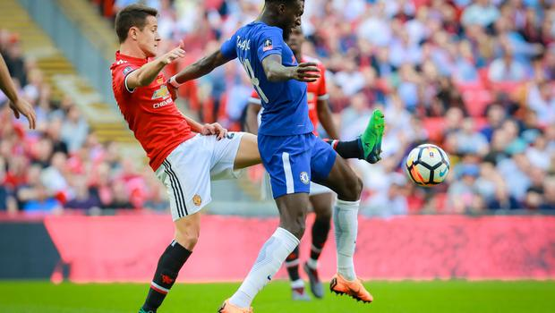Manchester United's Ander Herrera and Chelsea's Tiemoue Bakayoko in action during the FA Cup final at Wembley on May 19th 2018 (Photo by Kevin Scott / Belfast Telegraph)